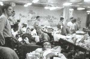 June 8, 1967, USS LIBERTY messdeck becomes a hospital