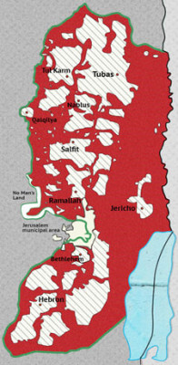 Area C controlled by Israel (red areas) of the West Bank. B'Tselem Human Rights organizations