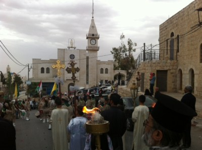 Taybeh, Palestine, St. George Church celebrates Holy Fire (photo credit:  Buthina Canaan Khoury)