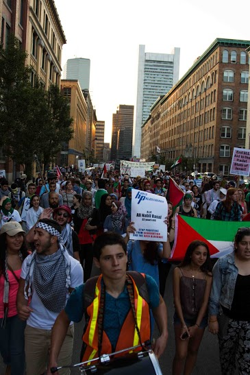 Boston protests against Israel's brutality in the Gaza Strip and the massacre of thousands of civilians. Courtesy of an attendee