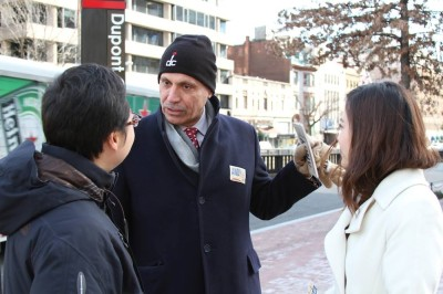 Andy Shallal meets voters during Washington D.C. Democratic Mayoral primary April 1, 2014.