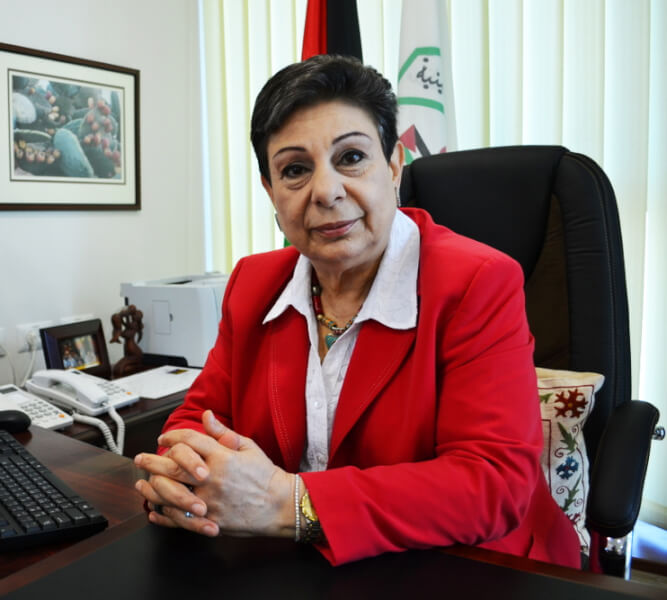 Hanan Ashrawi, to receive the 2014 HCEF Path of Peace Award fromt he Holy Land Christian Ecumenical Foundation at its annual banquet Oct. 17