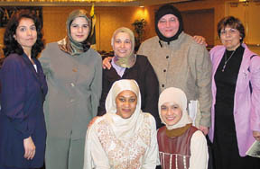 Tayyibah Taylor (front row, left) with several American Arab activists from the Chicago area 2002
