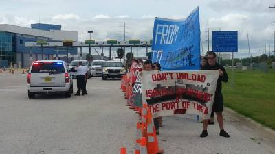 Block the Boat protestors target the ZIM Lines in Tampa to protest Israeli apartheid and civil rights violations. Photos courtesy Block the Boat movement