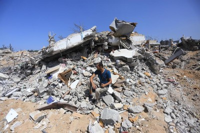 The home of The Arab Daily News photographer and journalist Mohammed Asad destroyed in Shujaiyya by Israeli forces.