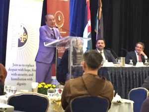 Houston Businessman Farouk Shami urges the 16th Annual Convention for the Holy Land Christian Ecumenical Foundation to invest in Palestine and help build a strong economy that will provide jobs and result in peace.