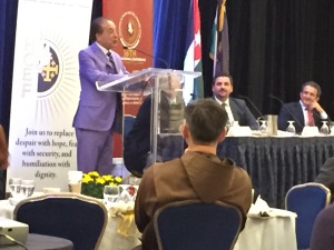 Houston Businessman Farouk Shami urges the 16th Annual Convention for the Holy Land Christian Ecumenical Foundation Saturday Oct. 18, 2014 at the Marriott Hotel in Washington D.C.