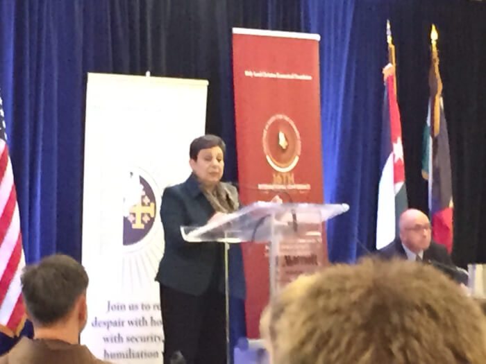 Ashrawi warns Israel destroying Christian presence in the Holy Land at Middle East Christian confab
