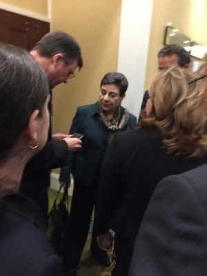 Ashrawi greeted by attendees after her speech