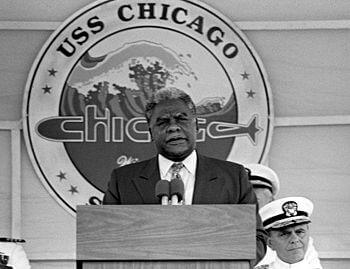 Chicago Mayor Harold Washington speaks during ...