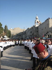 Christian Procession at Church of the Nativity in Bethlehem, Palestine