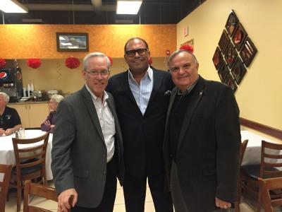 Orland Park Mayor Dan McLaughlin, Ziyad Brothers Importing owner Nemer Ziyad, Tinley Park Mayor Ed Zabrocki