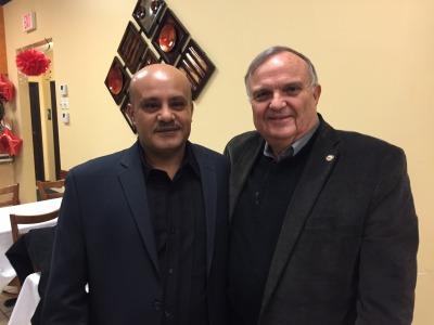 Amjad Alowisi, owner of the Shish Kabob House with Tinley Mayor Ed Zabrocki