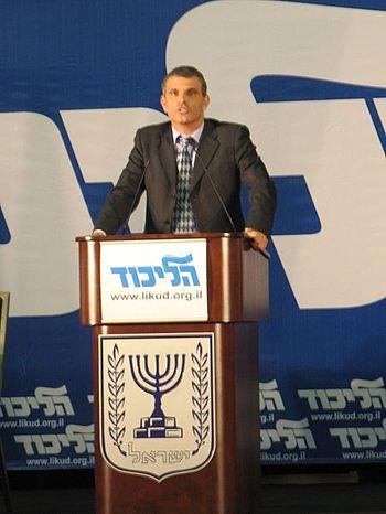 Moshe Kahlon speaking at Likud central Committee