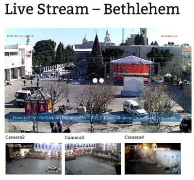Image of what you will see at the Live Video of Bethlehem and Manger Square at http://www.bethlehem-city.org/en