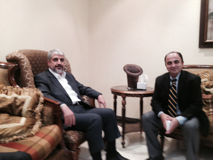 Ali Younes (right) interviewing Hamas spokesman Khaled Meshaal