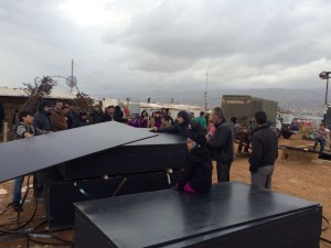 """Bekaa valley Lebanon.  Heavy snowfall in Lebanon January 7, 2015. Yesterday staff from NRC Lebanon's Bekaa office were working with refugees to put in place flood mitigation measures in advance of the forecast harsh storm which hit overnight. Field teams distributed 1,205 plywood sheets and 885 bricks as floor-raising kits for tents in two settlements in the town of Sarain, and 250 wooden pallets to ensure a clear pathway in five settlements in the town at risk of flooding.  Niamh Murnaghan, NRC's Country Director in Lebanon said, """"This morning residents of these informal settlements awoke to a knee-deep blanket of snow. With roads impassable in Bekaa, our staff have not been able to reach refugee settlements, but refugees have sent photos of themselves clearing the snow from their tents."""" Photo credit: NRC Lebanon/Syrian refugees in Lebanon."""