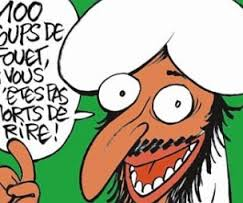 Racist caricature of an Arab or Muslim from Charlie Hebdo magazine