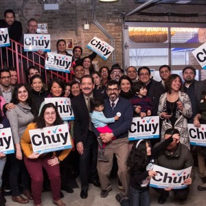 Jesus CHuy Garcia with progressive and Hispanic supporters at a Get Out the Vote Rally. Photo Garcia Facebook Page.