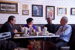 Maor Emanuel meets with Campaign Co-Chairs Congressman Luis Gutierrez, City Clerk Susana Mendoza and Illinois Secretary of State Jessie White. (Photo Emanuel Facebook Page)