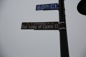 Honorary Street sign placed across from St. George Antiochian Orthodox Church, 1220 S. 60th Court in the Town of Cicero, Illinois, named in honor of the Tearing Icon of the Virgin Mary which is displayed inside the church.