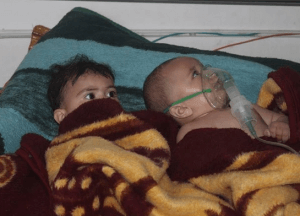Babies and young children are among those being treated by doctors and volunteers through SAMS as a result of chemical weapons attacks in Syria