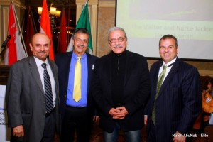 Actor Edward James Olmos (2nd fromr ight) joins attendees at the 11th Annual Images & Perceptions Conference in 2014
