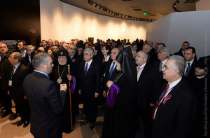 Photo of the Pan-Armenian Declaration on the 100th anniversary of the Armenian Genocide promulgated at the Tsitsernakaber Memorial Complez. Courtesy of the President of the Republic of Armenia www.President.am