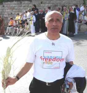 2005 photo of Vanunu's first Palm Sunday after 18 years in prison for telling The TRUTH about Israel's nukes. Photographer unknown.