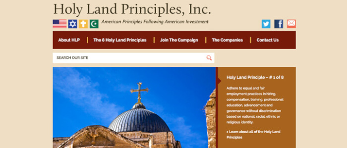Holy Land Principles steps up pressure for Fall vote