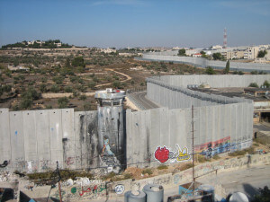 This reporter's view of Israel's Wall from a roof top in Aida camp.