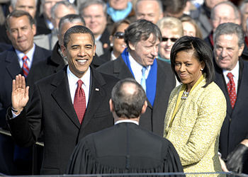 Obama being sworn in as America's First Black President. Photo courtesy of Wikipedia