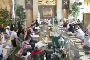 Prince Alwaleed Heads Press Conference in the Presence of Prince Khaled Bin Alwaleed & Princess Reem Bint Alwaleed (PRNewsFoto/Private Office of HRH Prince Alw)