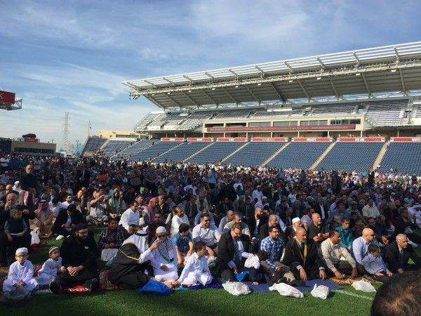 Muslims at prayer at Toyota Park in Bridgeview, Illinois at the Eid al-Udha celebration Sept. 24, 2015