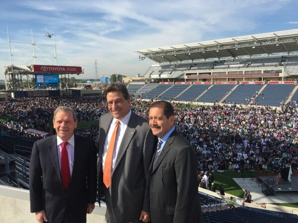 Illinois State Senate President John Cullerton, State Senator Steve Landek, and Cook County Commissioner Jesus Garcia with the 14,000 Muslims in the stadium