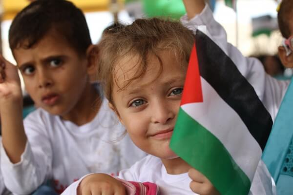 Children in Gaza show support for the lives on other children in the wake of the death of Aylan Kurdi on a Turkish beach