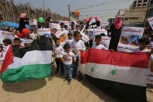 Children in the Gaza Strip protest against violence against children by governments and the neglect of children.