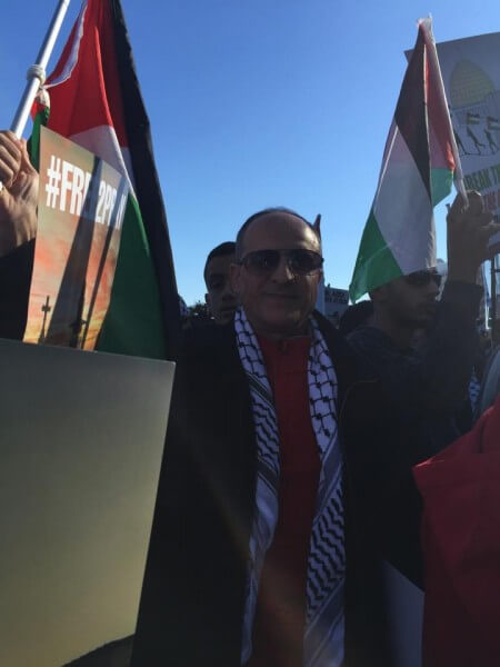 Dr. Atiyeh Salem, one of 15,000 protestors at a demonstration demanding an end to the Israeli occupation of Palestine -- Sunday (Oct. 18, 2015) in Chicago