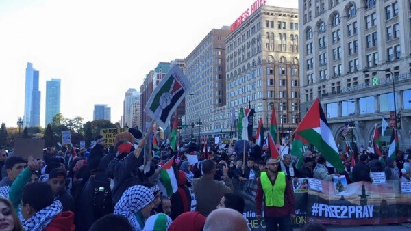 Protests in Chicago Sunday Oct. 18, 2015 against Israel's occupation. Photo courtesy of Dr. Atiyeh Salem