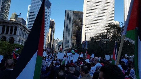 Protest in Chicago Sunday Oct. 18, 2015 against Israel's occupation. Photo courtesy of Dr. Atiyeh Salem