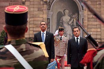 English: (President Barack Obama and France's ...