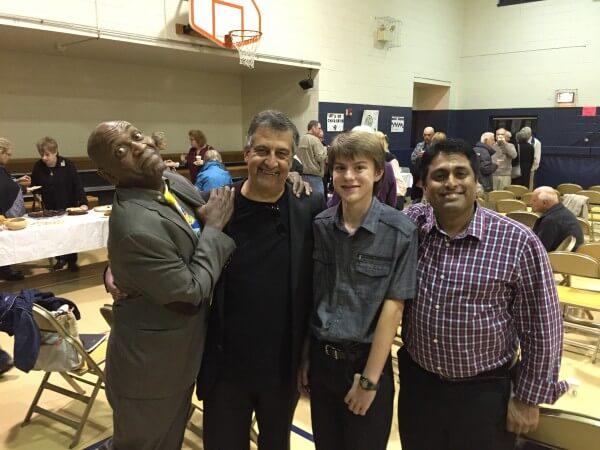 Comedians Aaron Freeman, Ray Hanania, Aaron Hanania and Arif Choudhury at the Interfaith Comedy Show Saturday Oct. 24, 2015