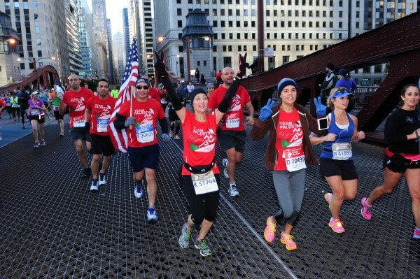 "Members of ""Team Palestine"" compete in the annual Bank of America Chicago Marathon"