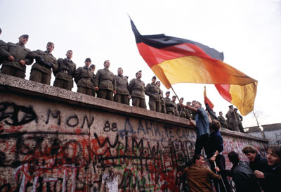 The Berlin Wall, dividing East and West Germany