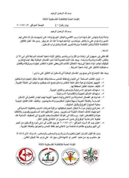 "The First ""Manifesto"" of the Third Intifada"