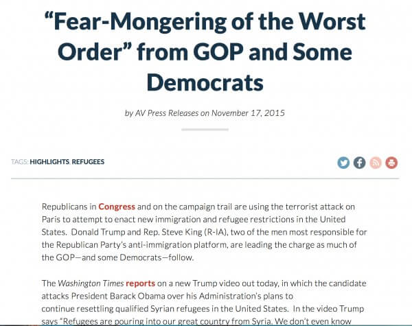 Fear mongering by Republicans