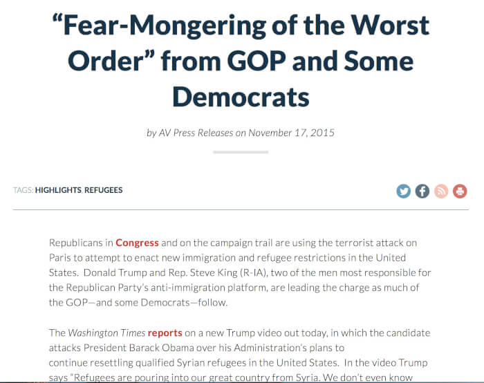 """Fear-Mongering of the Worst Order"" from GOP and Some Democrats"