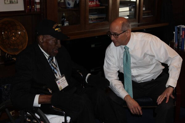 It was a great honor to spend time with a living hero like Frank Levingston in my Washington office today. Frank is the oldest living veteran of World War II in the country, and he lives in Lake Charles. Our country owes a tremendous debt of gratitude to our veterans who have fought and sacrificed for our American values. That's why I am so committed to making sure our veterans in Louisiana have access to the best possible care, because they've earned it. (Boustany's Facebook Page)