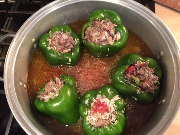 stuffed green peppers in pot