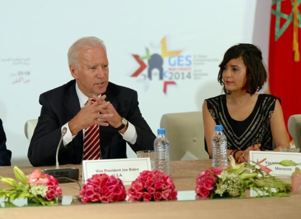Yasmine El Baggari joins Vice President Joe Biden on a recent panel